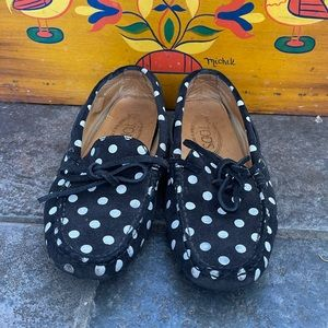Tod's Black & White Polka Dot Driving Loafers 34.5